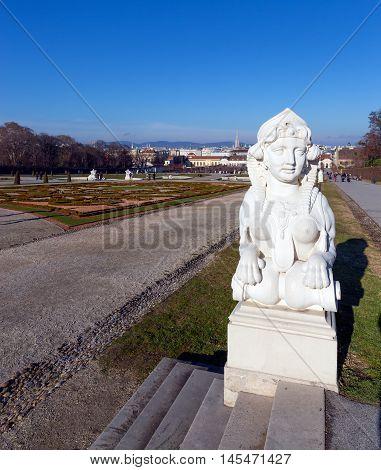 Sphinx statue in the Belvedere Garden, Vienna, Austria.