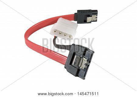 Hard disk drive power cables on a white background