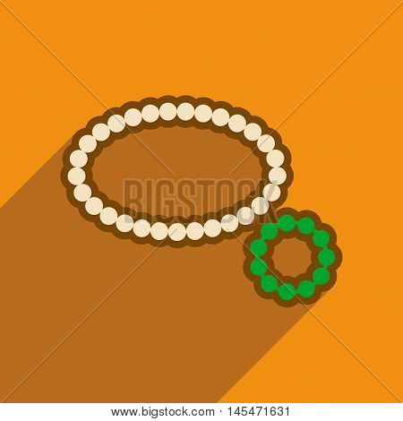 Flat icon with long shadow necklace bracelet