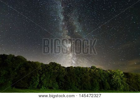 The Milky Way  over the trees. Milky way galaxy.