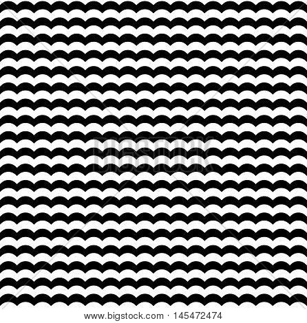 Waves seamless pattern in black and white. Backdrop fashion illustration and pattern with curve line vector