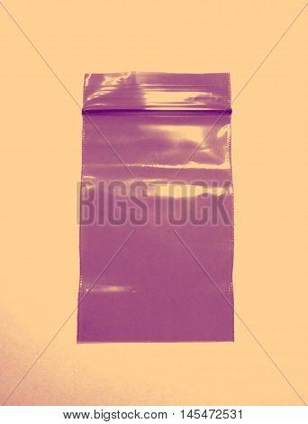 Plastic bag with zipper closeup color in retro style