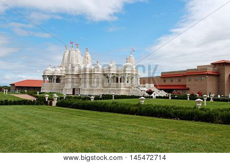 Swami Narayan Hindu Temple in Chicago Illinois selective focus.