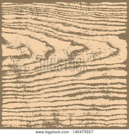 Beige brown wood texture background in square format. Realistic plank with annual years circles. Empty natural pattern swatch template. Vector illustration design elements save in 8 eps