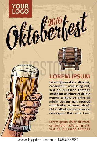Poster to oktoberfest festival. Hands holding beer glasses glass and wooden barrel. Vintage vector engraving illustration for web invitation to party. Isolated on beige background.