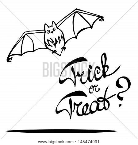 Laconic Halloween card with a cute bat and hand drawn lettering