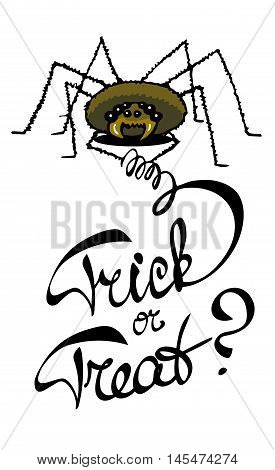 Laconic Halloween card with a spider and hand drawn lettering