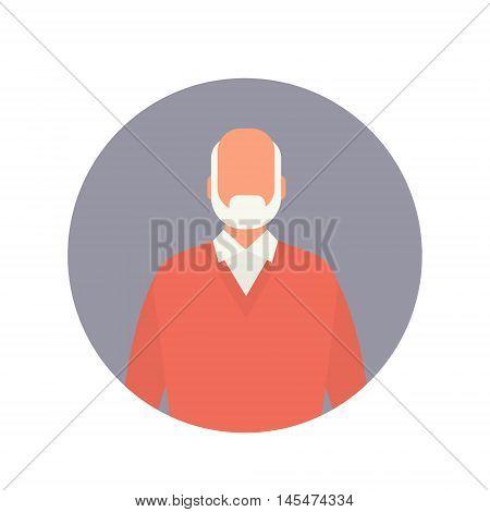 Senior Man Grandfather Web Icon Grandpa Flat Vector Illustration
