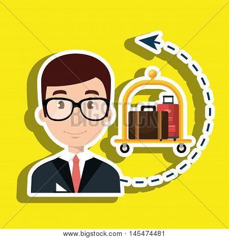 receptionist suitcase employee vector illustration design eps 10