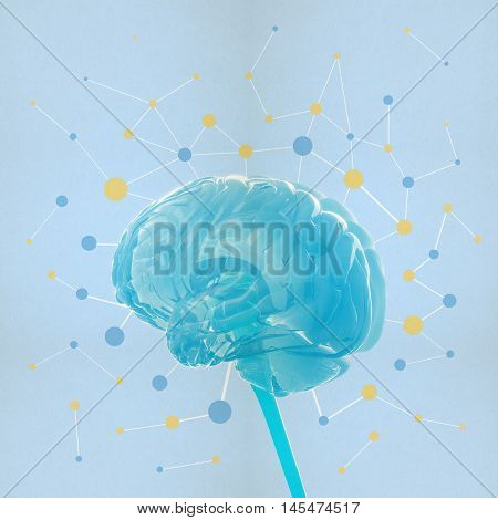 Huma brain isolated. Brain power, colorful creative thoughts. 3D illustration.