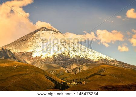 Details Of Sprouting Ash Cloud On Volcanic Eruption Of Cotopaxi Volcano Ecuador South America