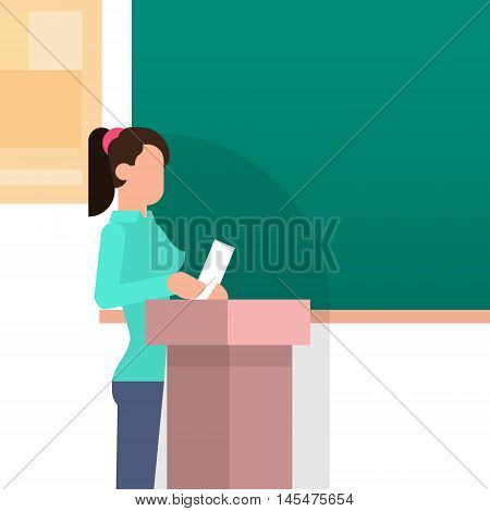 Girl Student Answer Over Tribune Chalkboard University Education Flat Vector Illustration