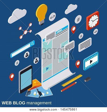Internet blogging, web publication, journalism, blog management vector concept