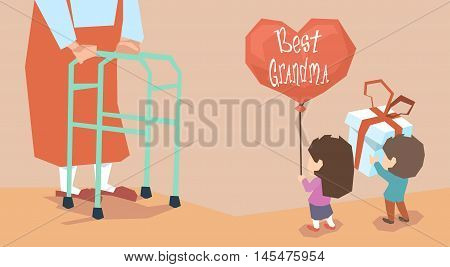 Small Boy Girl Give Present Balloon Grandmother Long Legs Grandparents Day Holiday Grandchildren Greeting Vector Illustration