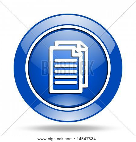 Blue round glossy vector document web icon