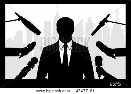 on the image the politician giving to interview is presented