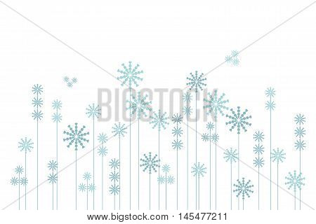 Abstract winter background of blue snow-flakes garden on white, vector illustration