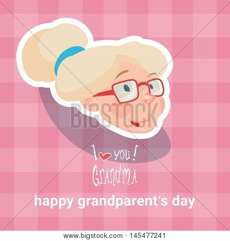 Grandmother Happy Grandparents Day Greeting Card Flat Vector Illustration