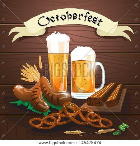 Beer Glass Mug With Sausage Pretzel Oktoberfest Festival Banner Flat Vector Illustration