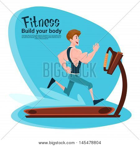 Sport Fitness Man On Running Track Treadmill Exercise Workout Gym Flat Vector Illustration