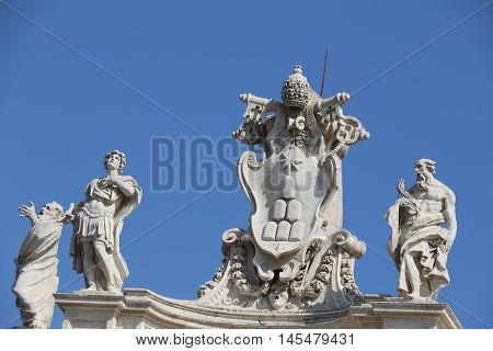 Detail of the Saint Peter Square in the Vatican