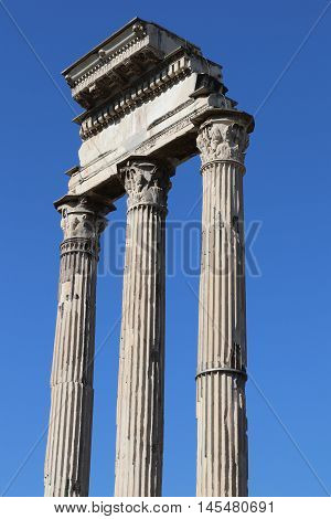 Columns of the temple of Castor and Pollux in Rome