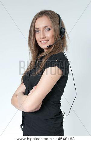 Sexy smilling call center operator