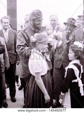 Yangiyer Uzbekistan - May 10 1963: Fidel and pioneer girls.