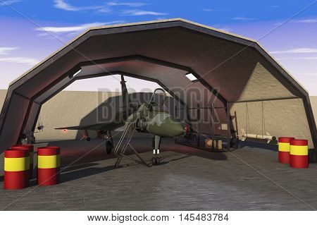 a military hangar with jet fighter(3d rendering)