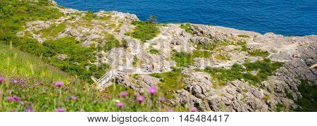 Bright summer day - people go hiking along the Cabott Trail in St. John's Newfoundland, Canada.