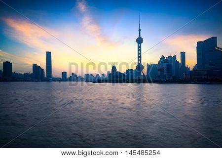 Shanghai skyline in the morning Shanghai China