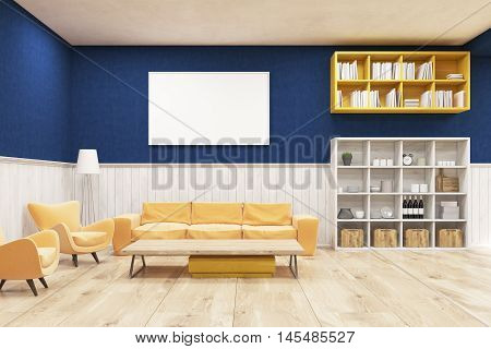Living room interior with wooden floor blue and white walls sofa armchairs and bookcases. Concept of cozy flat. 3d rendering. Mock up