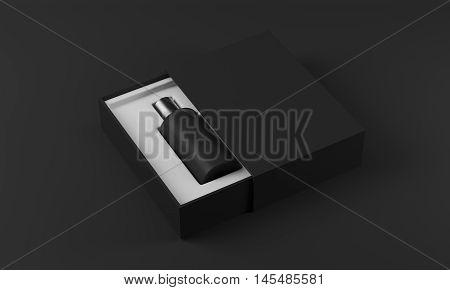 Black Perfume Bottle In White And Black Box