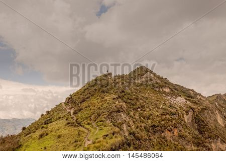 Pastoral Landscape With Herd Of Sheep And His Shepherd Near Quilotoa Lake Ecuador South America