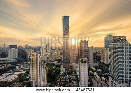 Bangkok skyscraper and Bangkok skyline during sunrise at morning in Bangkok Thailand
