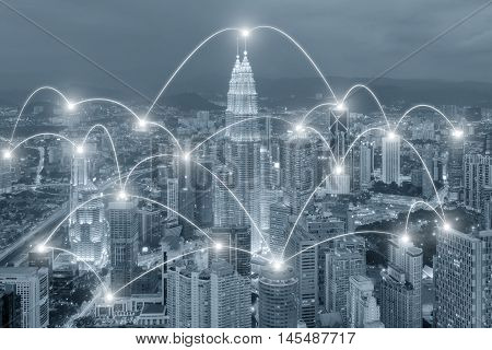 Network business conection concept - Network business conection system on cityscape background