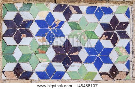 Traditional spanish glazed tiles on wall Toledo Spain
