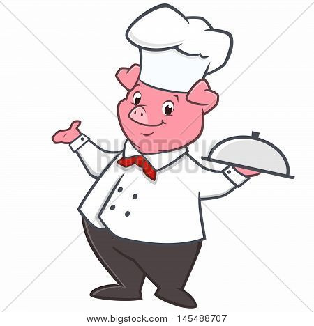 Vector illustration of pig chef holding a tray