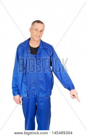 Repairman pointing down