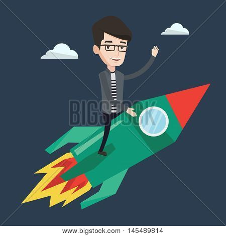 Young businessman flying on the business start up rocket and waving his hand. Concept of business start up and moving forward for business success. Vector flat design illustration. Square layout.