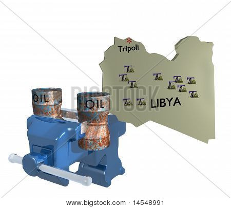 libya oil barrel crushed