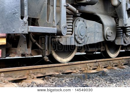 Train wheels on rails, closeup