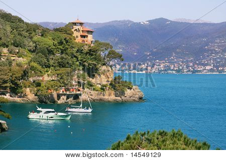 View On Small Town Of Portofino, Italy.