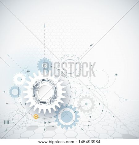 Vector illustration gear wheel and hexagons. Abstract hi-tech technology and engineering background, machine technology, futuristic concept. Vector abstract technology on light gray color background