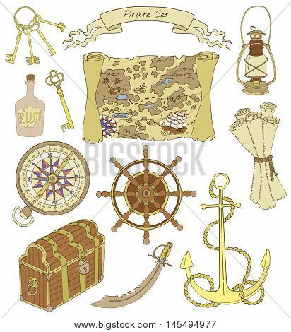Colorful design set with map, compass, lamp, anchor, wheel, trunk and other pirate theme objects, with hand drawn elements