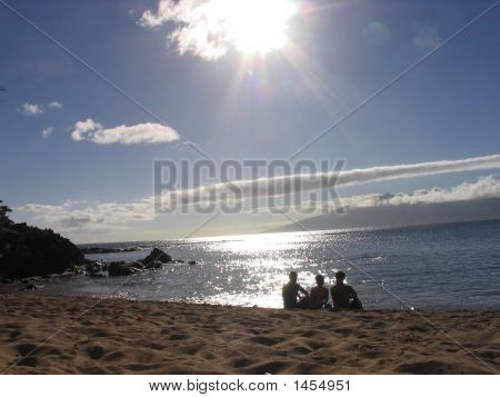 Friends At A Maui Beach On A Lazy Afternoon