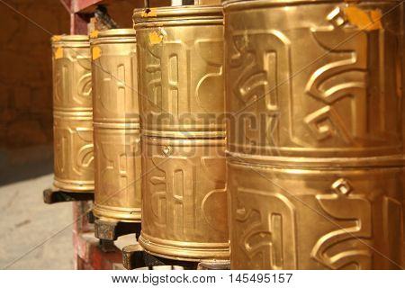 Golden prayer wheels, China, Tibet, Lhasa, Potala