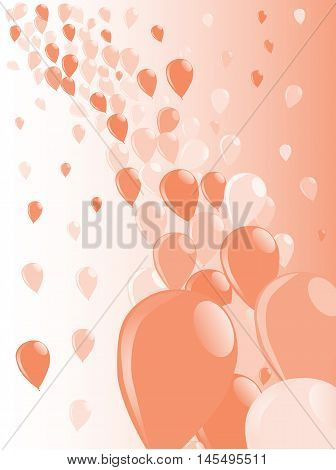 Baloons flying away into the sky over a white backgrounds