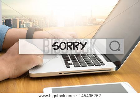 SORRY SEARCH WEBSITE INTERNET SEARCHING man hand top view use computer