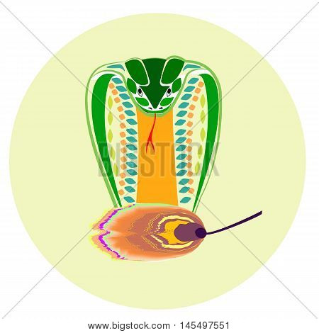 Cobra snake mascot. Vector flat illustration for print.